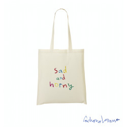 SAD AND HORNY TOTE BAG