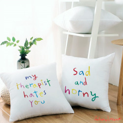 PACK OF 2 TEXT CUSHION COVER